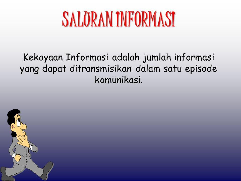 SALURAN INFORMASI Kekayaan Informasi adalah jumlah informasi yang dapat ditransmisikan dalam satu episode komunikasi.