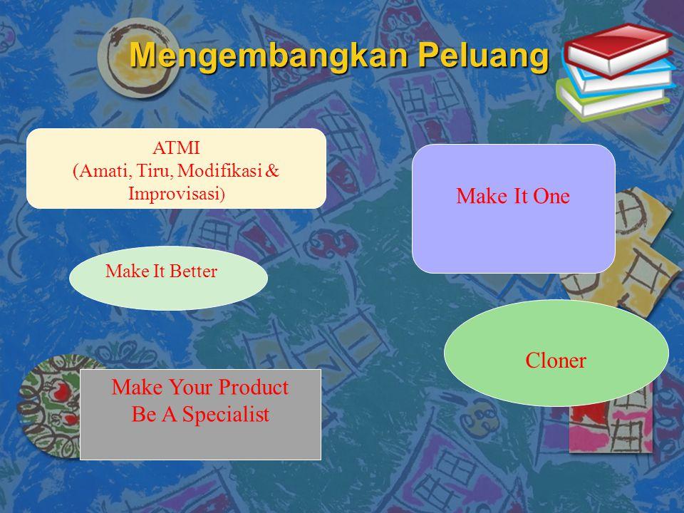 Mengembangkan Peluang ATMI (Amati, Tiru, Modifikasi & Improvisasi ) Make It Better Make It One Make Your Product Be A Specialist Cloner