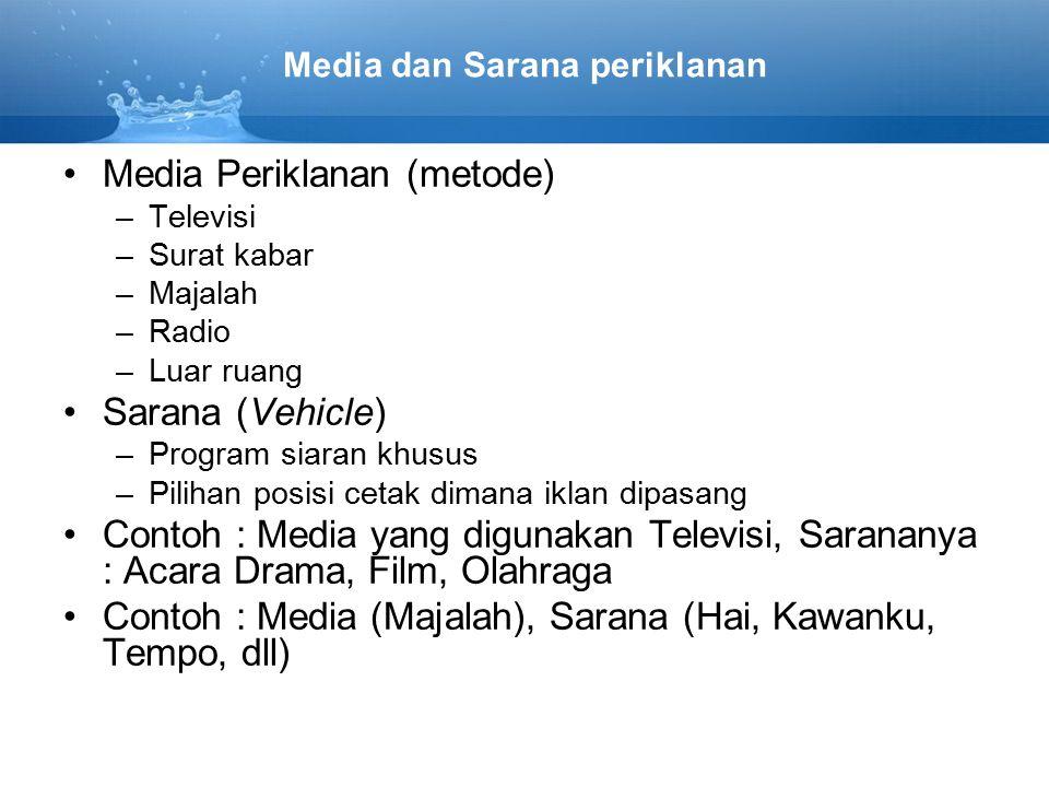 Media Periklanan (metode) –Televisi –Surat kabar –Majalah –Radio –Luar ruang Sarana (Vehicle) –Program siaran khusus –Pilihan posisi cetak dimana ikla