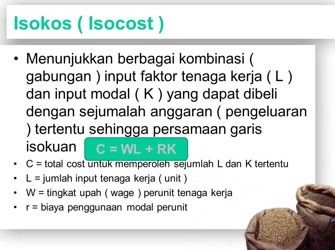 Isokos ( Isocost ) Menunjukkan berbagai kombinasi ( gabungan ) input faktor tenaga kerja ( L ) dan input modal ( K ) yang dapat dibeli dengan sejumala