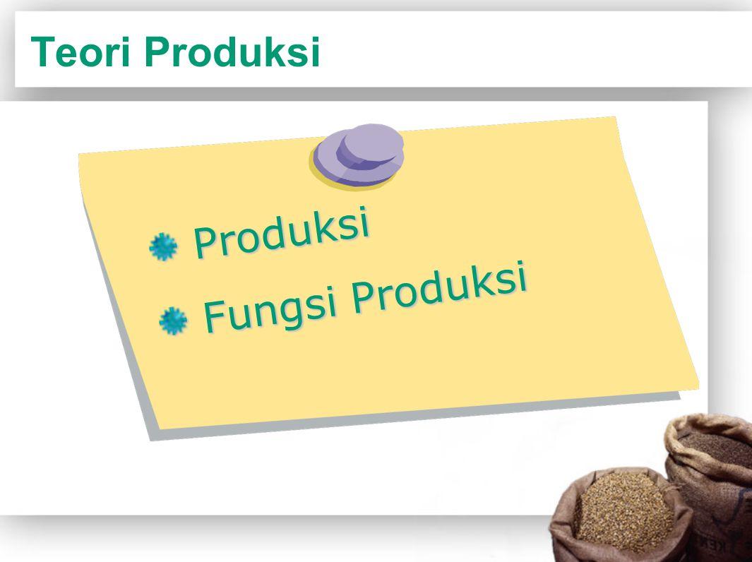 Produksi Kegiatan memproses input menjadi output Produsen dalam melakukan kegiatan produksi mempunyai landasan teknis yang didalam teori ekonomi disebut fungsi produksi.