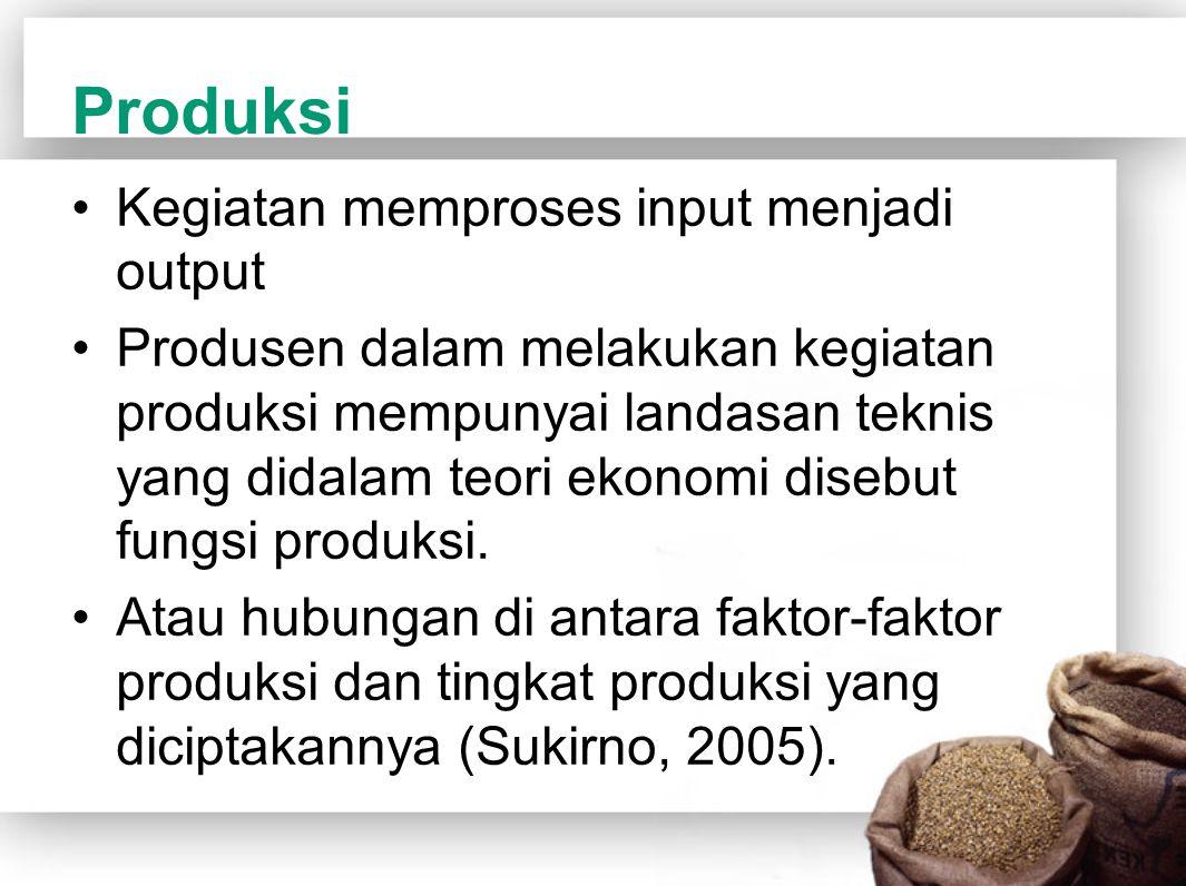 Produksi Kegiatan memproses input menjadi output Produsen dalam melakukan kegiatan produksi mempunyai landasan teknis yang didalam teori ekonomi diseb