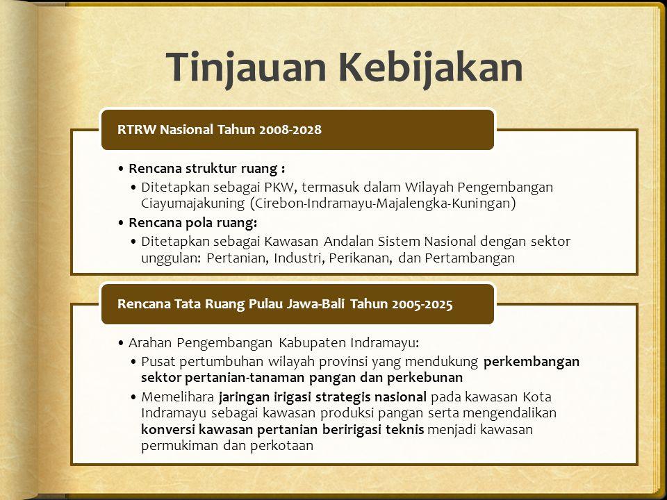 Rencana struktur ruang : Ditetapkan sebagai PKW, termasuk dalam Wilayah Pengembangan Ciayumajakuning (Cirebon-Indramayu-Majalengka-Kuningan) Rencana pola ruang: Ditetapkan sebagai Kawasan Andalan Sistem Nasional dengan sektor unggulan: Pertanian, Industri, Perikanan, dan Pertambangan RTRW Nasional Tahun 2008-2028 Arahan Pengembangan Kabupaten Indramayu: Pusat pertumbuhan wilayah provinsi yang mendukung perkembangan sektor pertanian-tanaman pangan dan perkebunan Memelihara jaringan irigasi strategis nasional pada kawasan Kota Indramayu sebagai kawasan produksi pangan serta mengendalikan konversi kawasan pertanian beririgasi teknis menjadi kawasan permukiman dan perkotaan Rencana Tata Ruang Pulau Jawa-Bali Tahun 2005-2025 Tinjauan Kebijakan