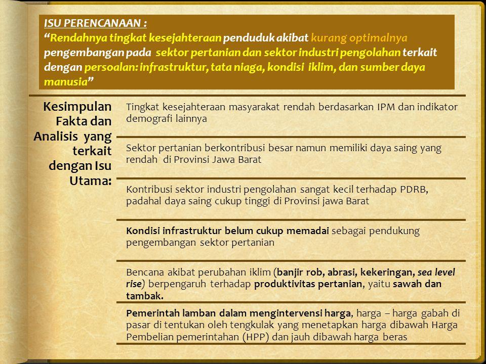ISU PERENCANAAN : Rendahnya tingkat kesejahteraan penduduk akibat kurang optimalnya pengembangan pada sektor pertanian dan sektor industri pengolahan terkait dengan persoalan: infrastruktur, tata niaga, kondisi iklim, dan sumber daya manusia Kesimpulan Fakta dan Analisis yang terkait dengan Isu Utama: Tingkat kesejahteraan masyarakat rendah berdasarkan IPM dan indikator demografi lainnya Sektor pertanian berkontribusi besar namun memiliki daya saing yang rendah di Provinsi Jawa Barat Kontribusi sektor industri pengolahan sangat kecil terhadap PDRB, padahal daya saing cukup tinggi di Provinsi jawa Barat Kondisi infrastruktur belum cukup memadai sebagai pendukung pengembangan sektor pertanian Bencana akibat perubahan iklim (banjir rob, abrasi, kekeringan, sea level rise) berpengaruh terhadap produktivitas pertanian, yaitu sawah dan tambak.