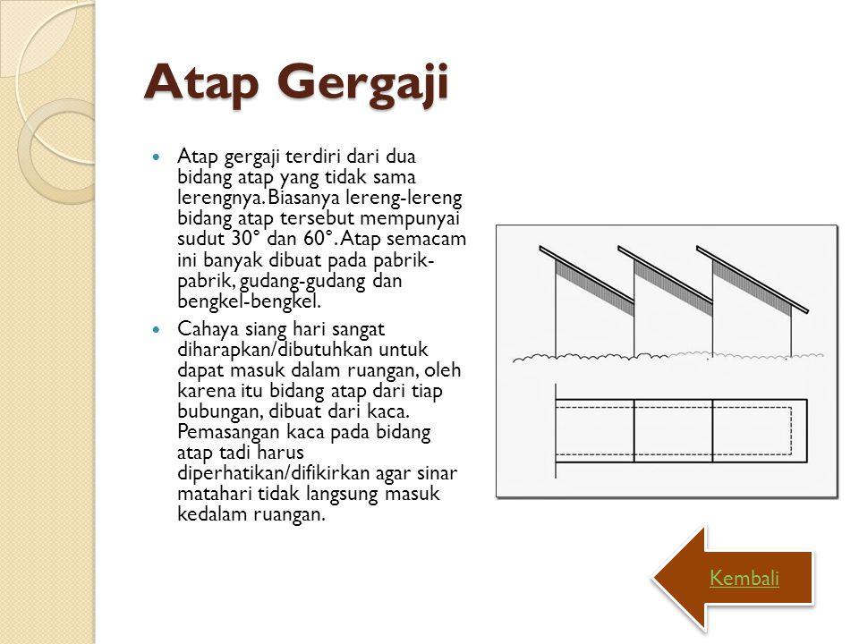 Atap Gergaji Atap gergaji terdiri dari dua bidang atap yang tidak sama lerengnya. Biasanya lereng-lereng bidang atap tersebut mempunyai sudut 30° dan
