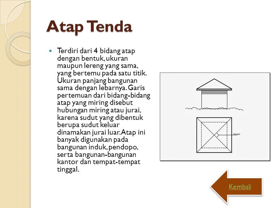 Atap Tenda Terdiri dari 4 bidang atap dengan bentuk, ukuran maupun lereng yang sama, yang bertemu pada satu titik. Ukuran panjang bangunan sama dengan