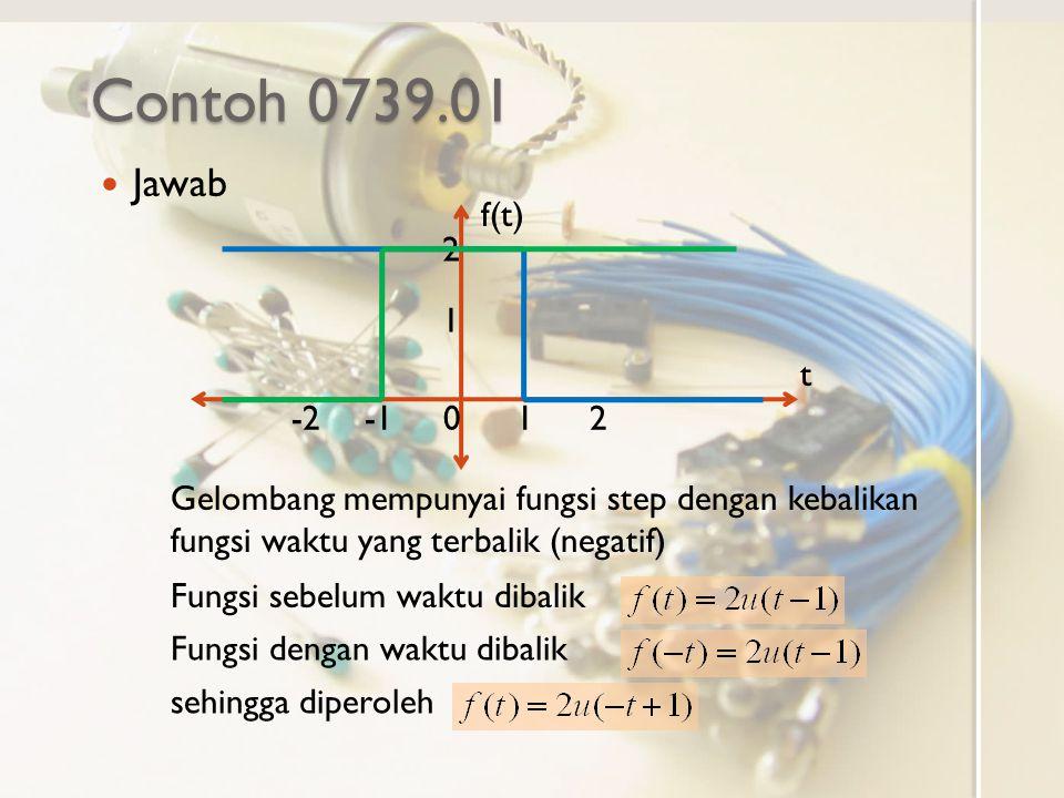 Contoh 0739.01 Jawab f(t) t 0-21 1 2 2 Gelombang mempunyai fungsi step dengan kebalikan fungsi waktu yang terbalik (negatif) Fungsi sebelum waktu diba