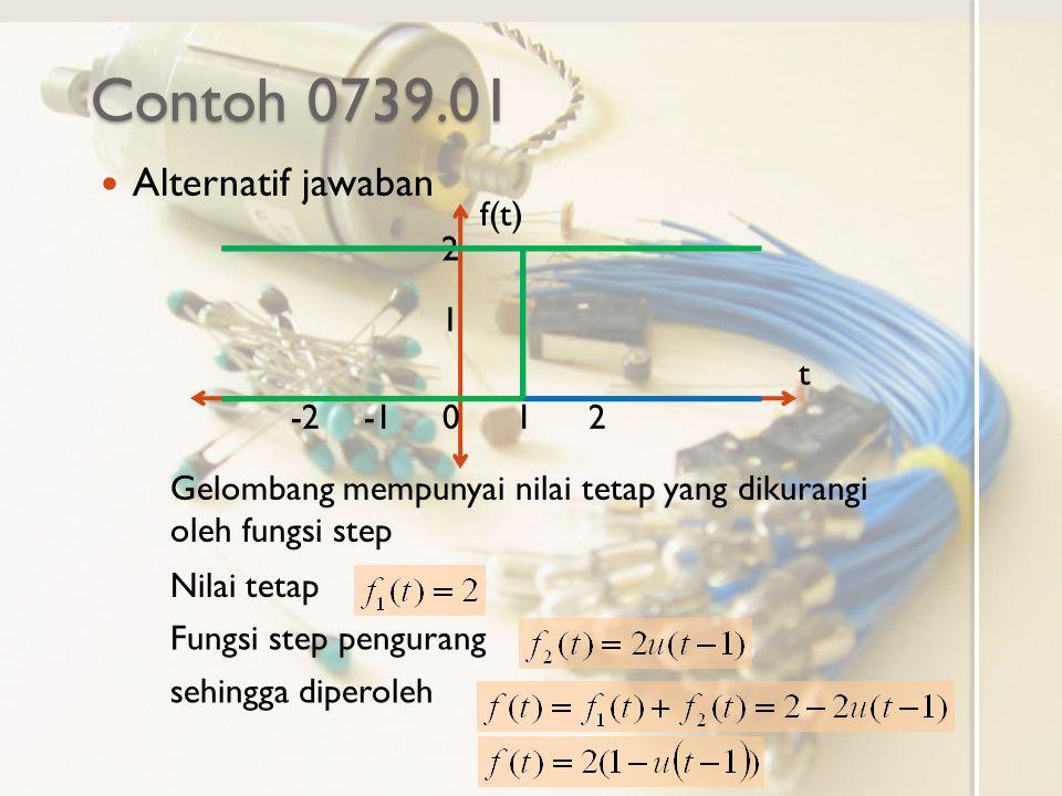 Contoh 0739.01 Alternatif jawaban f(t) t 0-21 1 2 2 Gelombang mempunyai nilai tetap yang dikurangi oleh fungsi step Nilai tetap Fungsi step pengurang