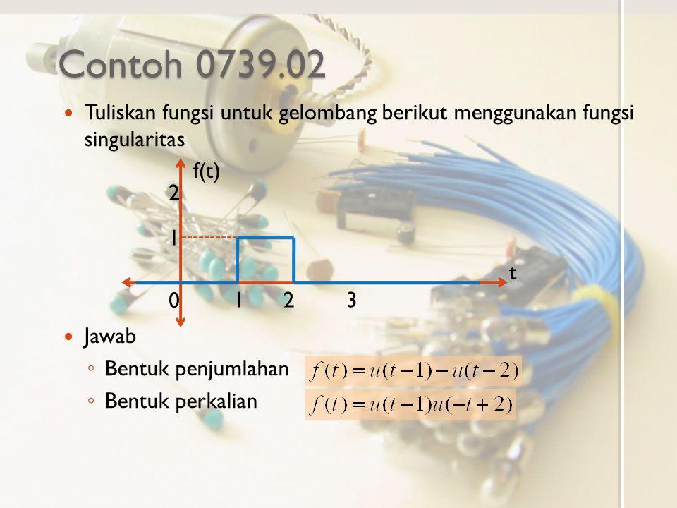 Contoh 0739.02 Tuliskan fungsi untuk gelombang berikut menggunakan fungsi singularitas Jawab ◦ Bentuk penjumlahan ◦ Bentuk perkalian f(t) t 0 123 1 2