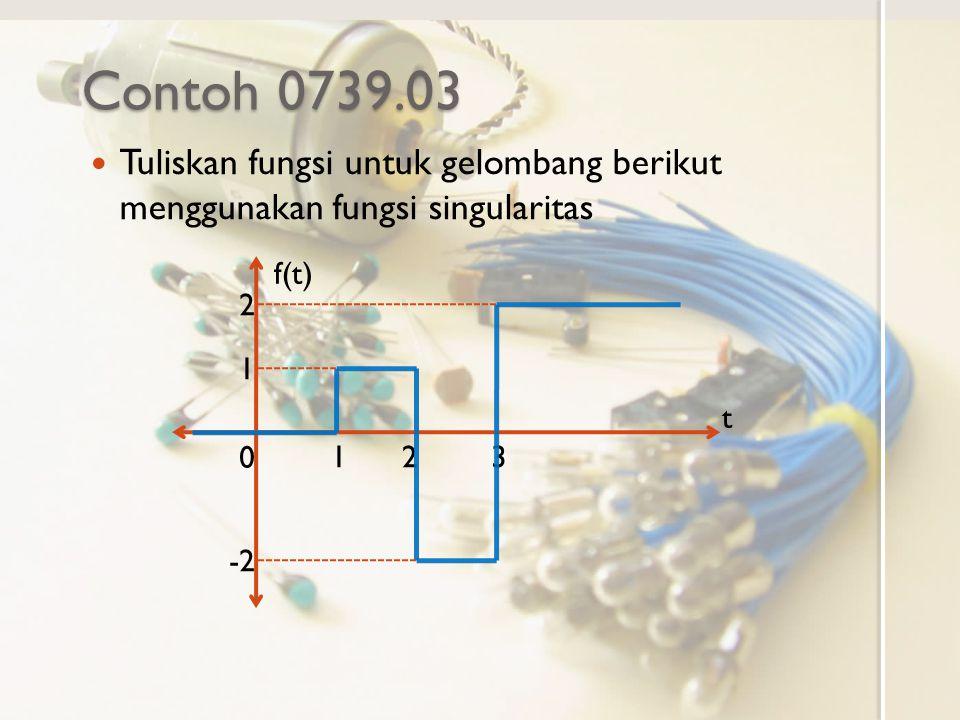 Contoh 0739.03 Tuliskan fungsi untuk gelombang berikut menggunakan fungsi singularitas f(t) t 0 123 1 2 -2