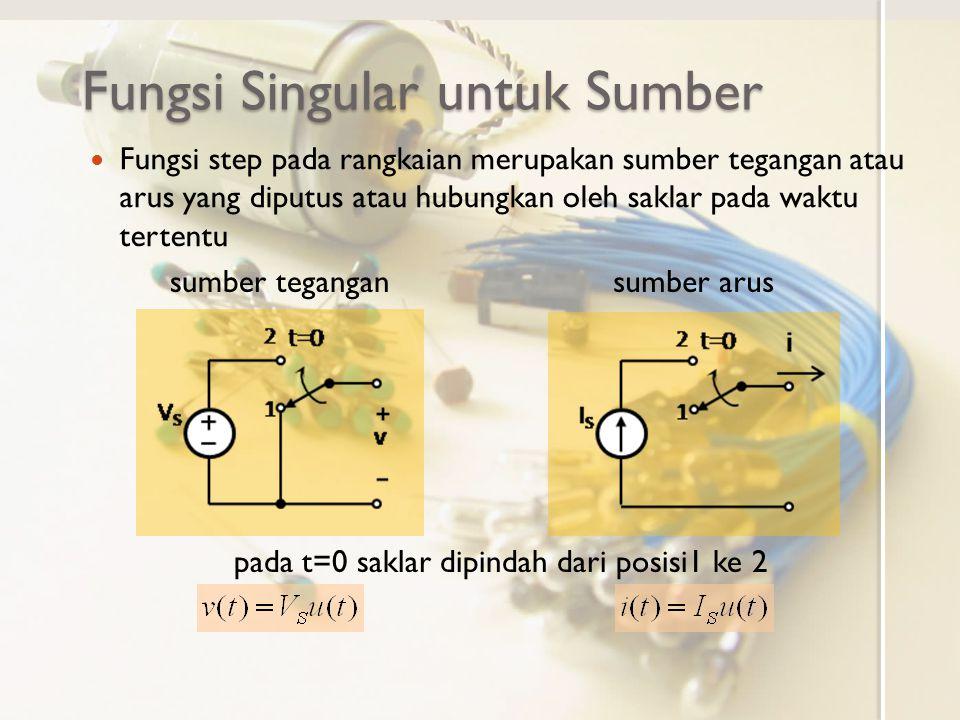 Fungsi Singular untuk Sumber Fungsi step pada rangkaian merupakan sumber tegangan atau arus yang diputus atau hubungkan oleh saklar pada waktu tertent