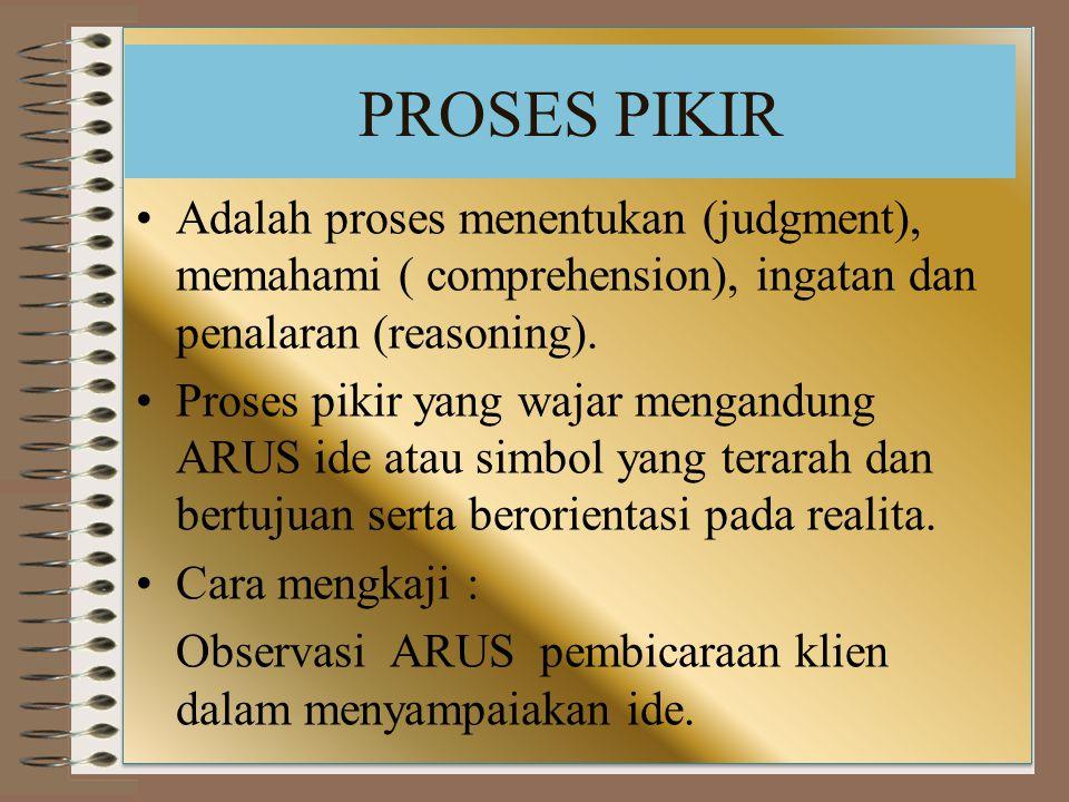 PROSES PIKIR Adalah proses menentukan (judgment), memahami ( comprehension), ingatan dan penalaran (reasoning). Proses pikir yang wajar mengandung ARU