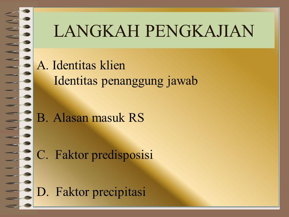A. Identitas klien Identitas penanggung jawab B.Alasan masuk RS C. Faktor predisposisi D. Faktor precipitasi LANGKAH PENGKAJIAN