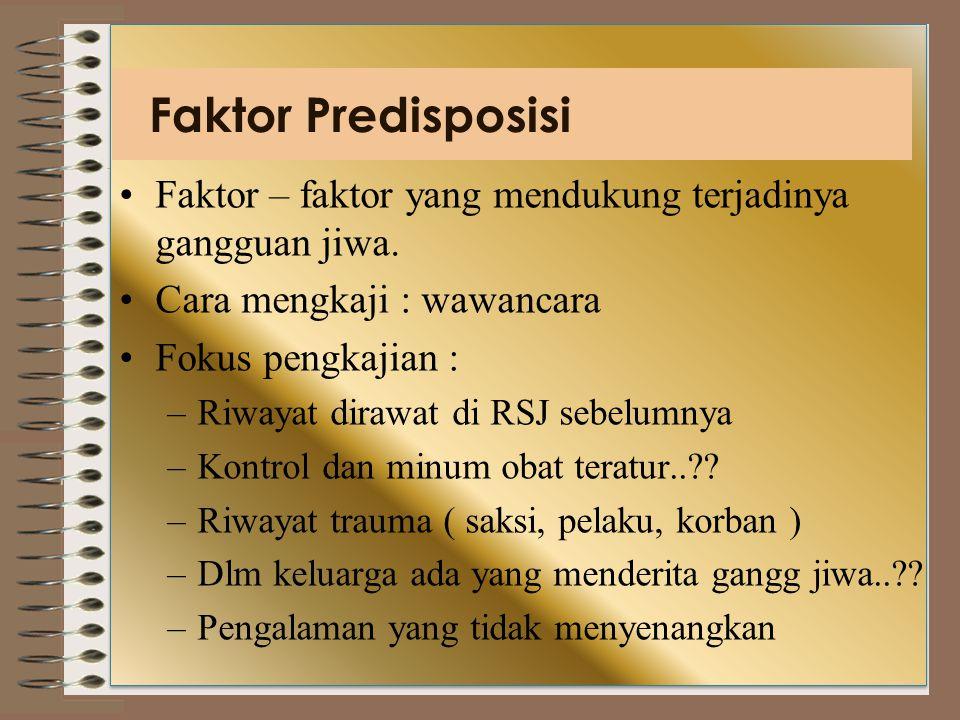 Faktor Predisposisi Faktor – faktor yang mendukung terjadinya gangguan jiwa.