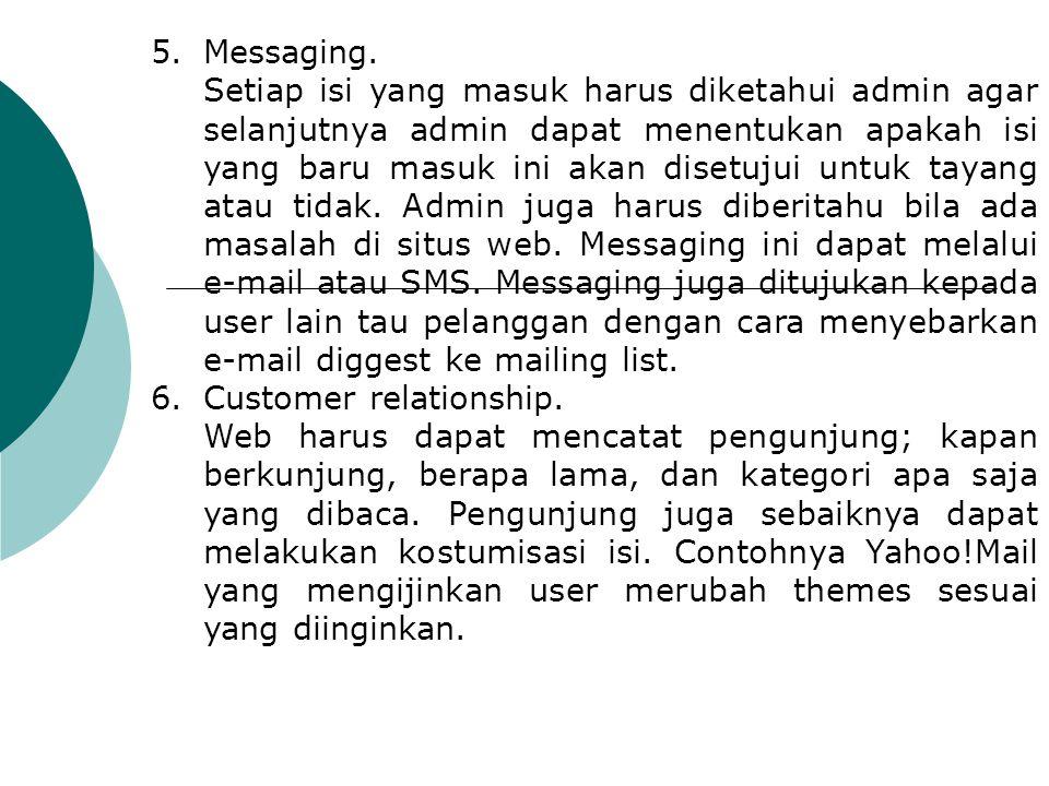 5.Messaging. Setiap isi yang masuk harus diketahui admin agar selanjutnya admin dapat menentukan apakah isi yang baru masuk ini akan disetujui untuk t