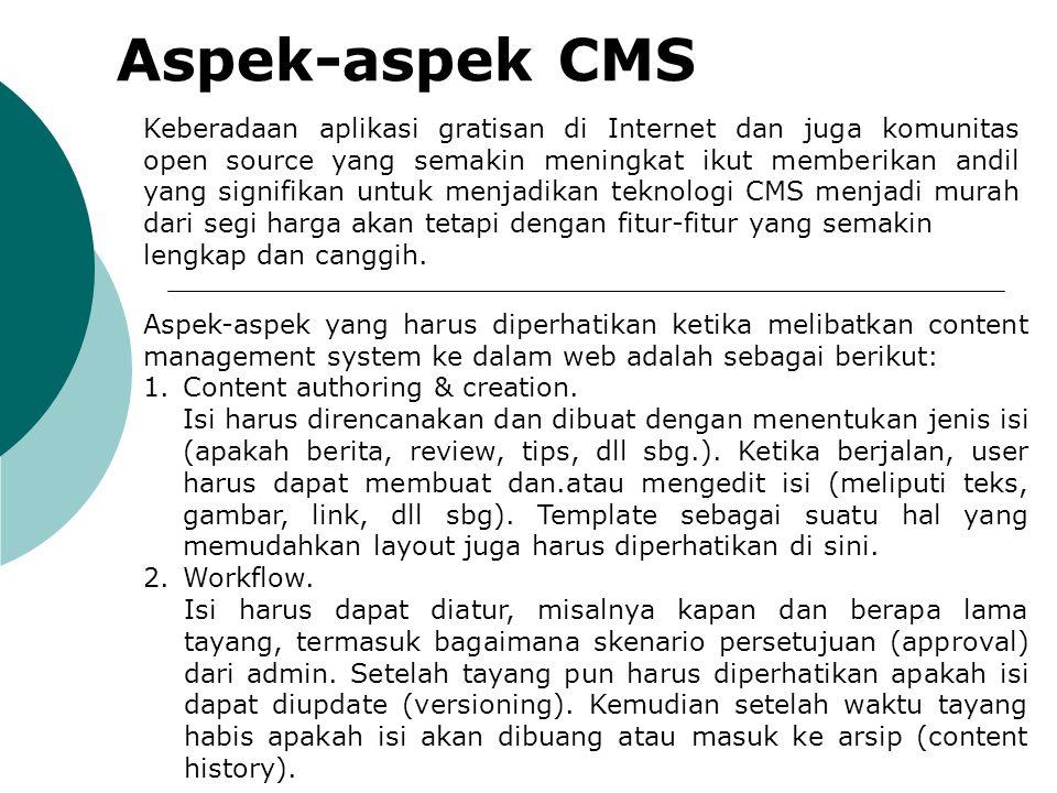 Aspek-aspek CMS Keberadaan aplikasi gratisan di Internet dan juga komunitas open source yang semakin meningkat ikut memberikan andil yang signifikan u