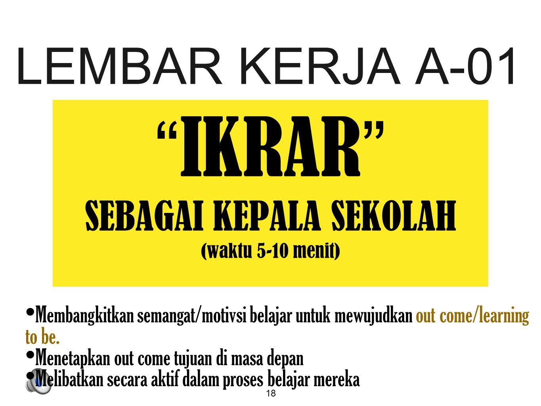 """18 LEMBAR KERJA A-01 """" IKRAR """" SEBAGAI KEPALA SEKOLAH (waktu 5-10 menit) Membangkitkan semangat/motivsi belajar untuk mewujudkan out come/learning to"""