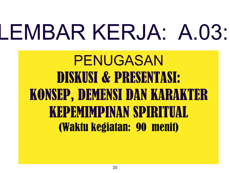 25 PENUGASAN DISKUSI & PRESENTASI: KONSEP, DEMENSI DAN KARAKTER KEPEMIMPINAN SPIRITUAL (Waktu kegiatan: 90 menit) LEMBAR KERJA: A.03:
