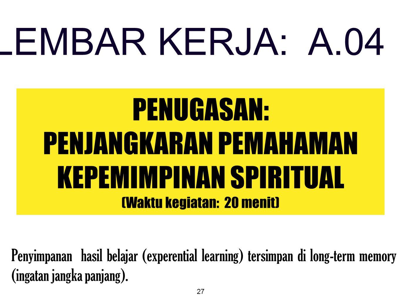 27 PENUGASAN: PENJANGKARAN PEMAHAMAN KEPEMIMPINAN SPIRITUAL (Waktu kegiatan: 20 menit) LEMBAR KERJA: A.04 Penyimpanan hasil belajar (experential learn