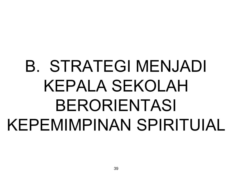 39 B. STRATEGI MENJADI KEPALA SEKOLAH BERORIENTASI KEPEMIMPINAN SPIRITUIAL