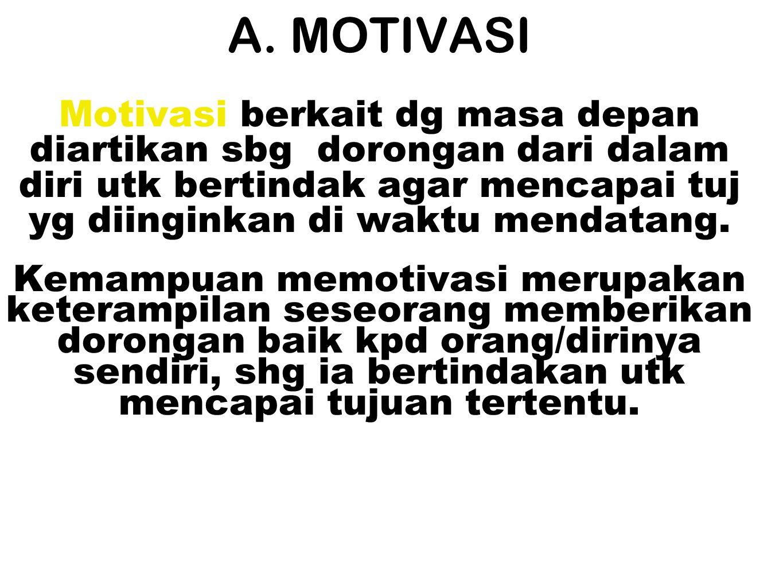 A. MOTIVASI Motivasi berkait dg masa depan diartikan sbg dorongan dari dalam diri utk bertindak agar mencapai tuj yg diinginkan di waktu mendatang. Ke