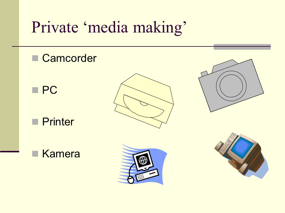 Private 'media making' Camcorder PC Printer Kamera