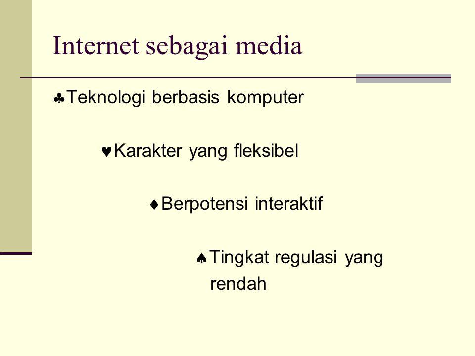 Internet sebagai media  Teknologi berbasis komputer Karakter yang fleksibel  Berpotensi interaktif  Tingkat regulasi yang rendah