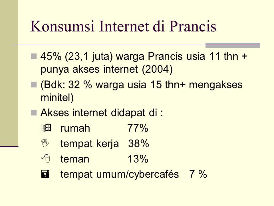 Konsumsi Internet di Prancis 45% (23,1 juta) warga Prancis usia 11 thn + punya akses internet (2004) (Bdk: 32 % warga usia 15 thn+ mengakses minitel) Akses internet didapat di :  rumah 77%  tempat kerja 38%  teman 13%  tempat umum/cybercafés 7 %