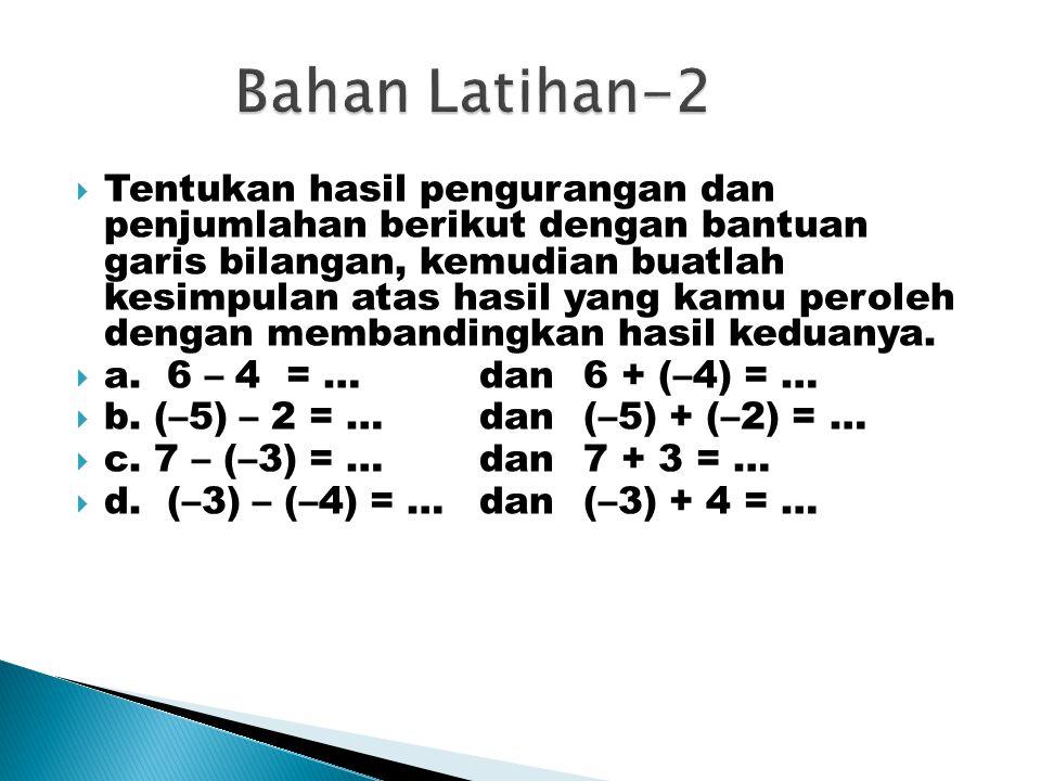  Tentukan hasil pengurangan dan penjumlahan berikut dengan bantuan garis bilangan, kemudian buatlah kesimpulan atas hasil yang kamu peroleh dengan membandingkan hasil keduanya.