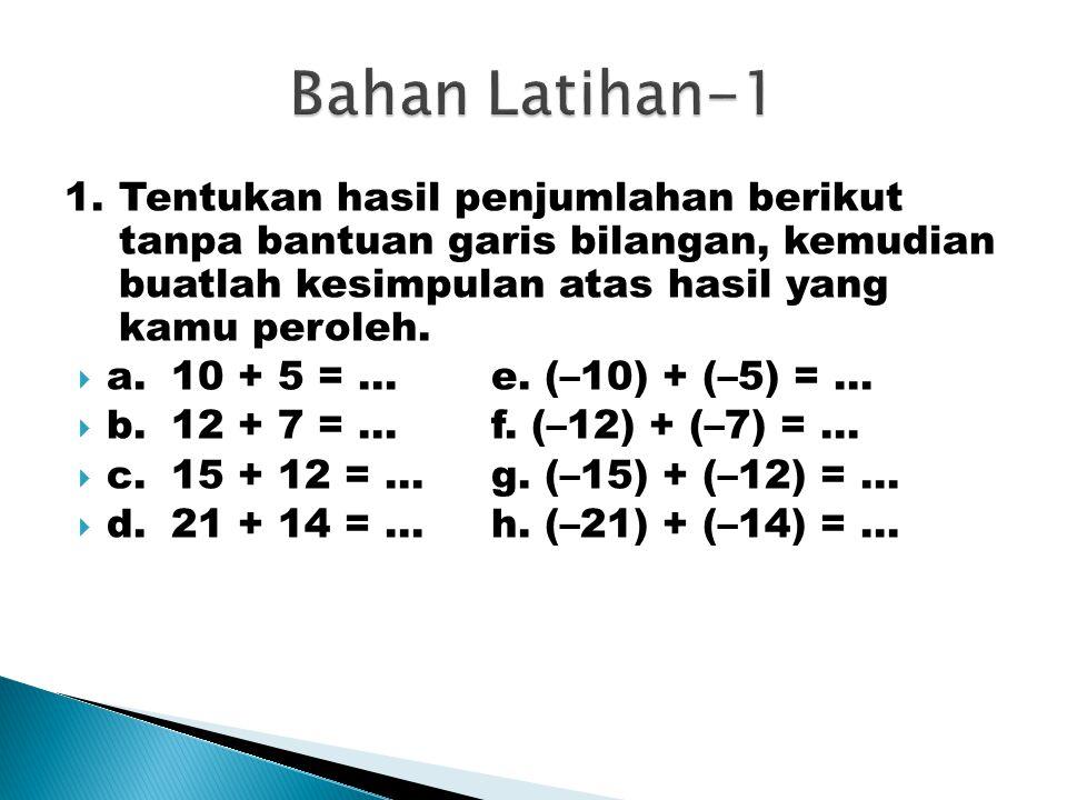 1.Tentukan hasil penjumlahan berikut tanpa bantuan garis bilangan, kemudian buatlah kesimpulan atas hasil yang kamu peroleh.  a.10 + 5 = …e. (–10) +