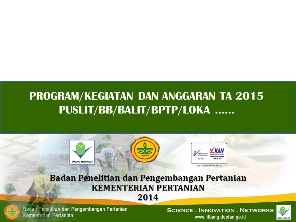 PROGRAM/KEGIATAN DAN ANGGARAN TA 2015 PUSLIT/BB/BALIT/BPTP/LOKA …… Badan Penelitian dan Pengembangan Pertanian KEMENTERIAN PERTANIAN 2014