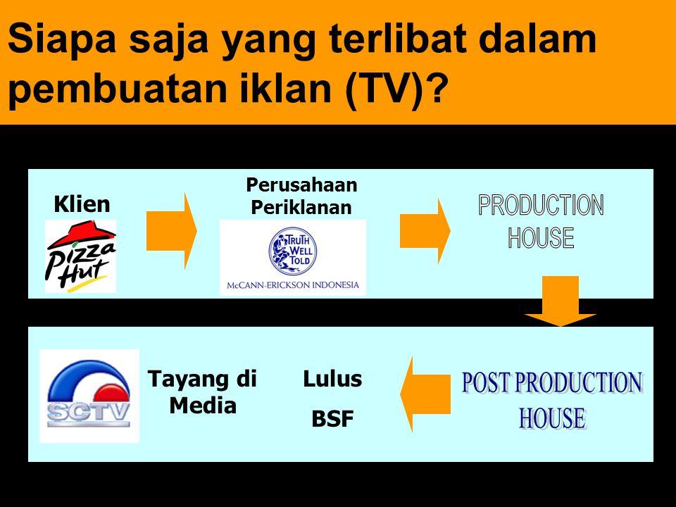 16 Siapa saja yang terlibat dalam pembuatan iklan (TV)? Klien Perusahaan Periklanan Tayang di Media Lulus BSF