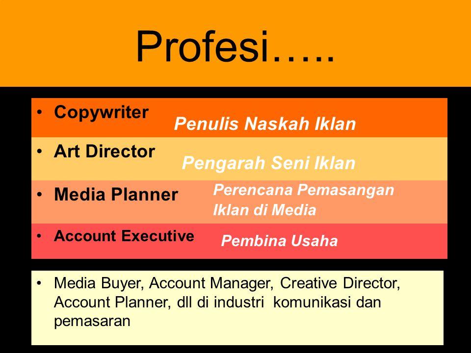 4 Profesi….. Copywriter Penulis Naskah Iklan Art Director Pengarah Seni Iklan Media Planner Perencana Pemasangan Iklan di Media Account Executive Medi