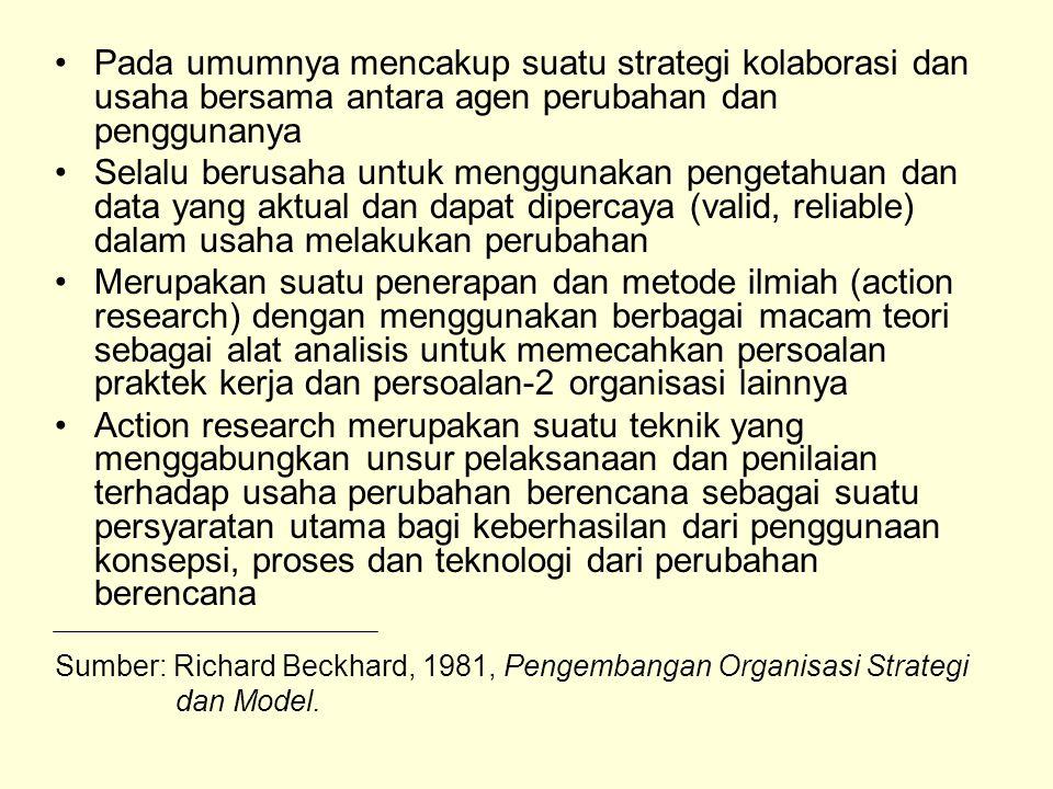 Pada umumnya mencakup suatu strategi kolaborasi dan usaha bersama antara agen perubahan dan penggunanya Selalu berusaha untuk menggunakan pengetahuan