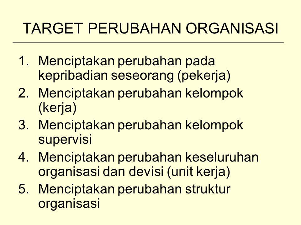 TARGET PERUBAHAN ORGANISASI 1.Menciptakan perubahan pada kepribadian seseorang (pekerja) 2.Menciptakan perubahan kelompok (kerja) 3.Menciptakan peruba