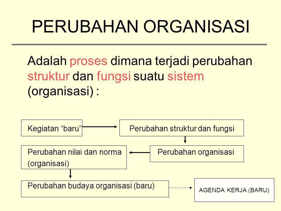 """Adalah proses dimana terjadi perubahan struktur dan fungsi suatu sistem (organisasi) : Kegiatan """"baru""""Perubahan struktur dan fungsi Perubahan nilai da"""