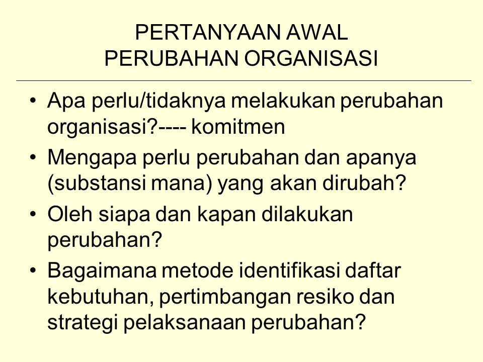 PERTANYAAN AWAL PERUBAHAN ORGANISASI Apa perlu/tidaknya melakukan perubahan organisasi?---- komitmen Mengapa perlu perubahan dan apanya (substansi man