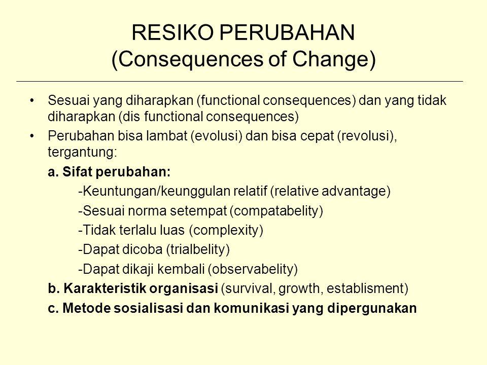 RESIKO PERUBAHAN (Consequences of Change) Sesuai yang diharapkan (functional consequences) dan yang tidak diharapkan (dis functional consequences) Per
