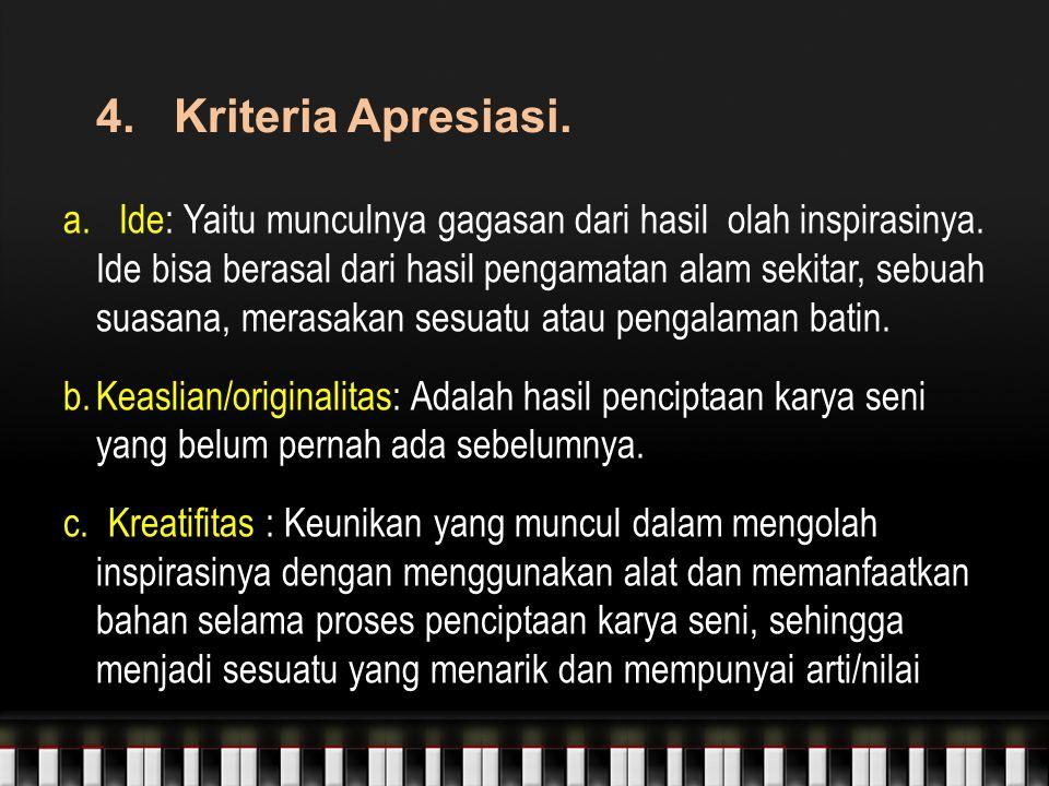 4.Kriteria Apresiasi. a. Ide: Yaitu munculnya gagasan dari hasil olah inspirasinya.