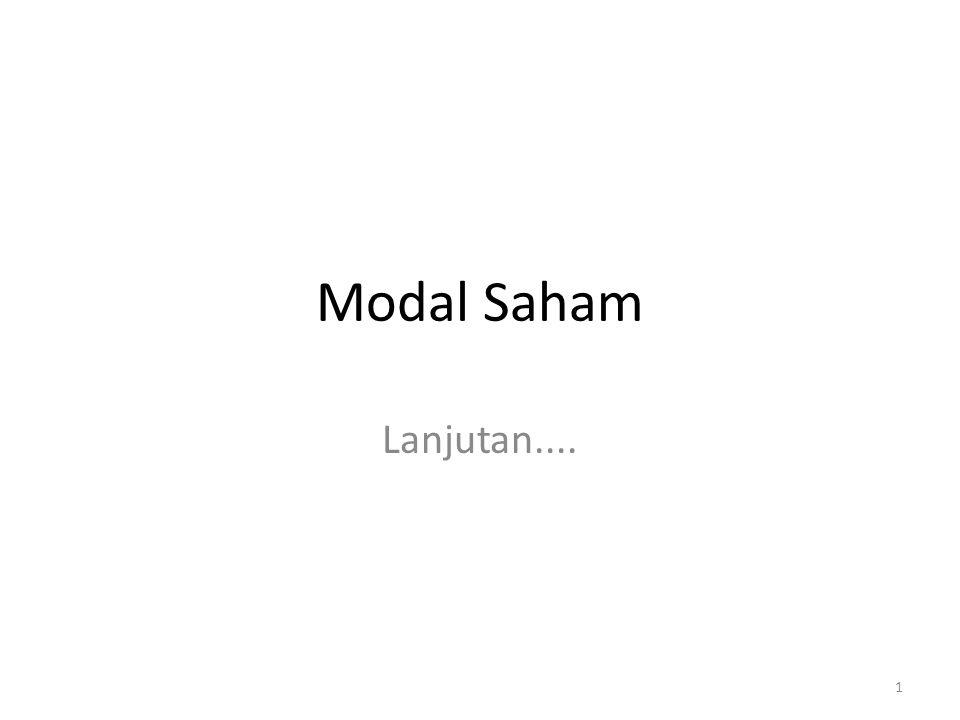 Modal Saham Lanjutan.... 1
