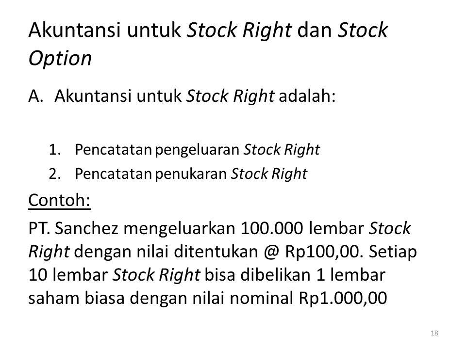 Akuntansi untuk Stock Right dan Stock Option A.Akuntansi untuk Stock Right adalah: 1.Pencatatan pengeluaran Stock Right 2.Pencatatan penukaran Stock R