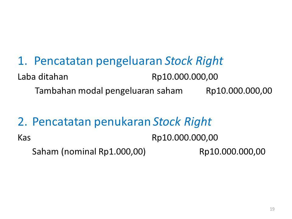 1.Pencatatan pengeluaran Stock Right Laba ditahan Rp10.000.000,00 Tambahan modal pengeluaran saham Rp10.000.000,00 2.Pencatatan penukaran Stock Right Kas Rp10.000.000,00 Saham (nominal Rp1.000,00) Rp10.000.000,00 19