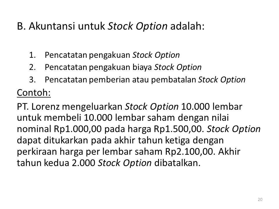 B. Akuntansi untuk Stock Option adalah: 1.Pencatatan pengakuan Stock Option 2.Pencatatan pengakuan biaya Stock Option 3.Pencatatan pemberian atau pemb