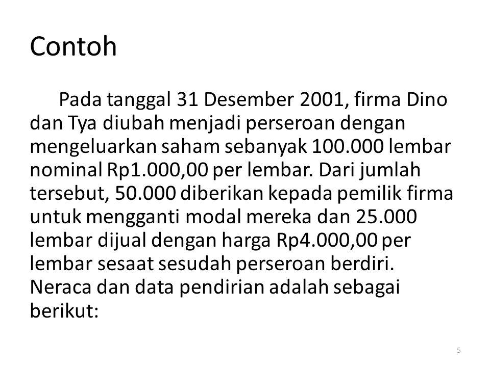 Contoh Pada tanggal 31 Desember 2001, firma Dino dan Tya diubah menjadi perseroan dengan mengeluarkan saham sebanyak 100.000 lembar nominal Rp1.000,00 per lembar.