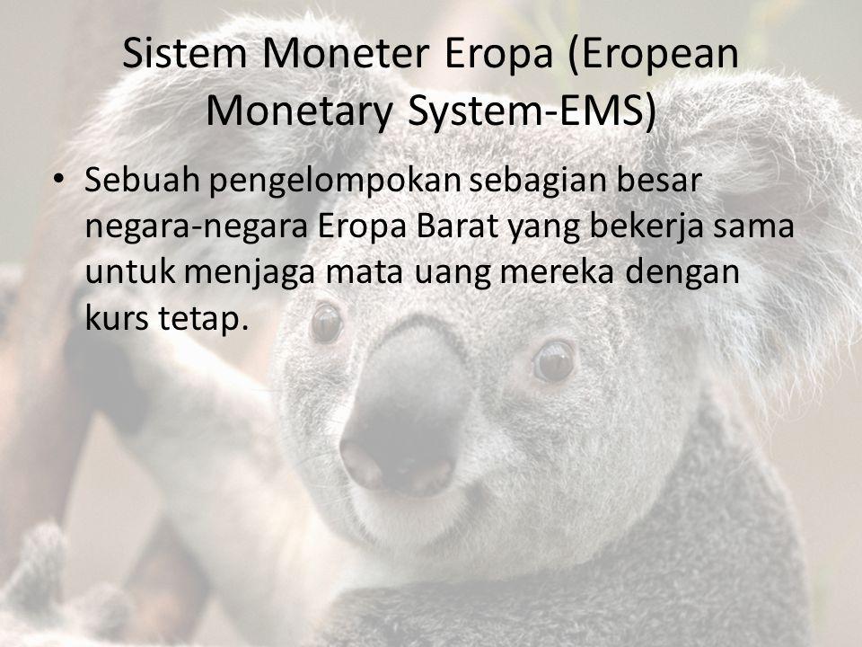 Sistem Moneter Eropa (Eropean Monetary System-EMS) Sebuah pengelompokan sebagian besar negara-negara Eropa Barat yang bekerja sama untuk menjaga mata