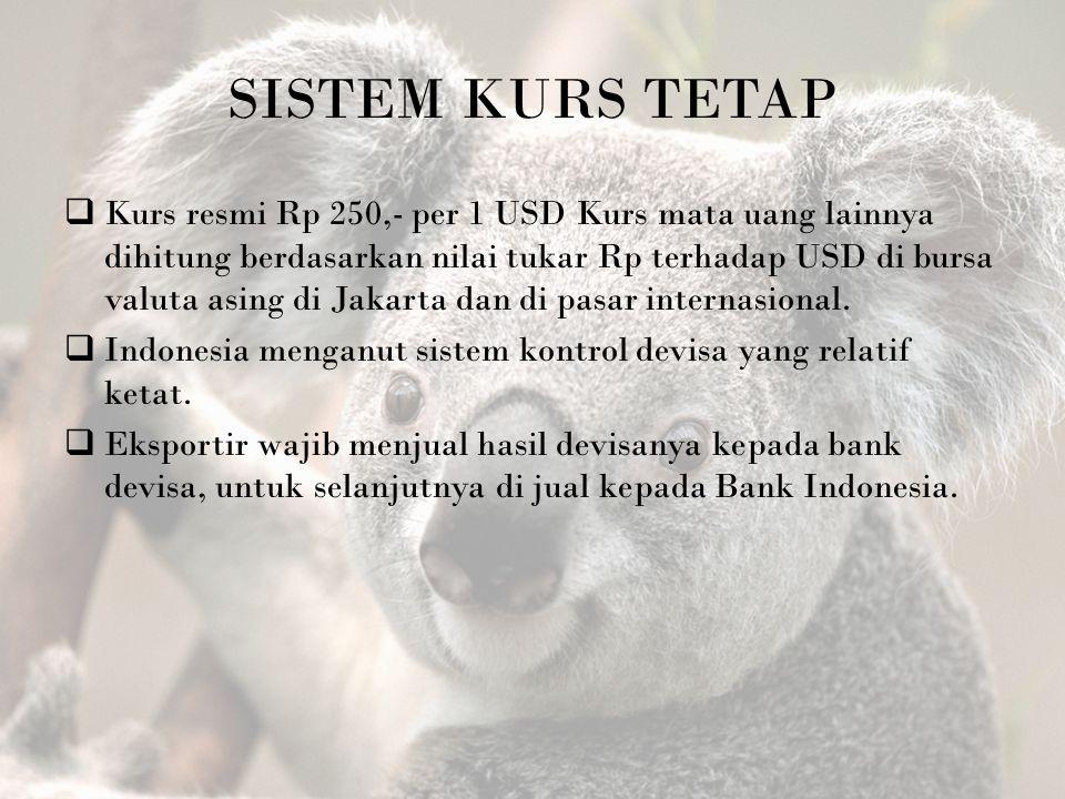 SISTEM KURS TETAP  Kurs resmi Rp 250,- per 1 USD Kurs mata uang lainnya dihitung berdasarkan nilai tukar Rp terhadap USD di bursa valuta asing di Jak