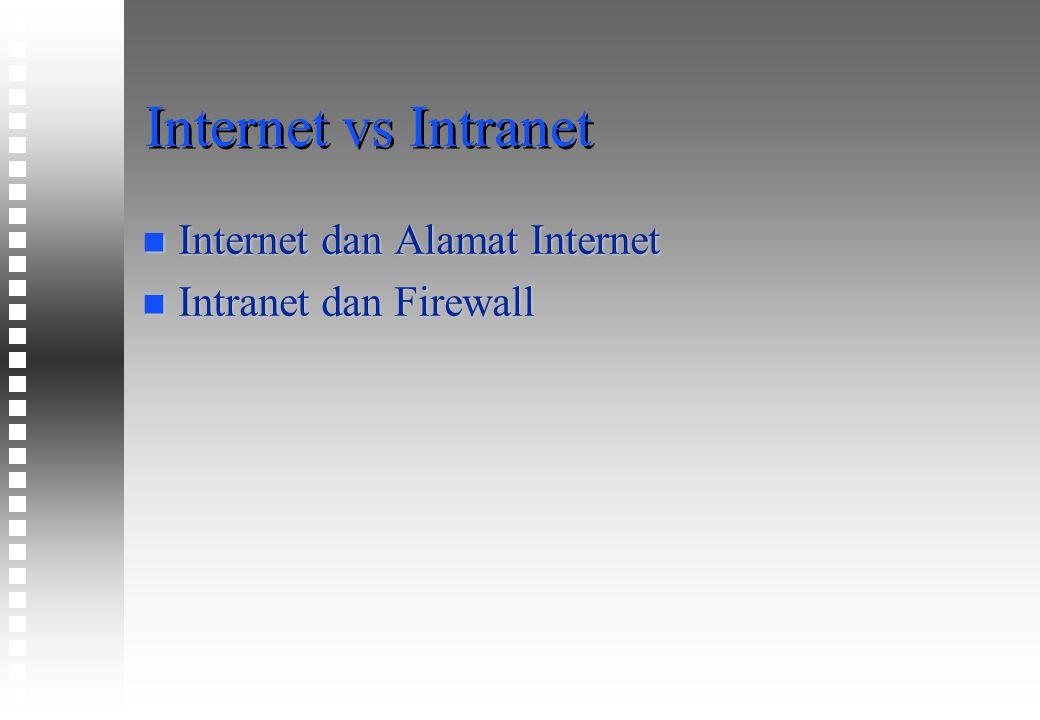 Internet vs Intranet n Internet dan Alamat Internet n Intranet dan Firewall