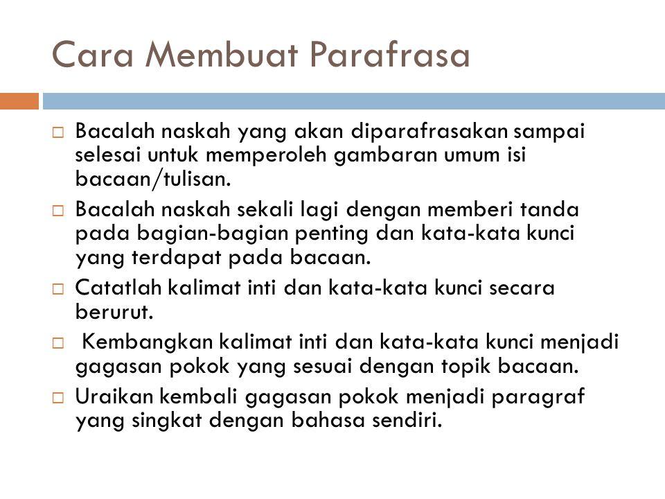 Cara Membuat Parafrasa  Bacalah naskah yang akan diparafrasakan sampai selesai untuk memperoleh gambaran umum isi bacaan/tulisan.  Bacalah naskah se
