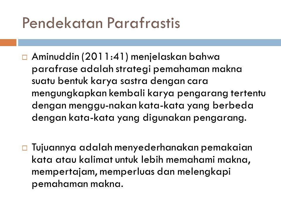 Pendekatan Parafrastis  Aminuddin (2011:41) menjelaskan bahwa parafrase adalah strategi pemahaman makna suatu bentuk karya sastra dengan cara mengung