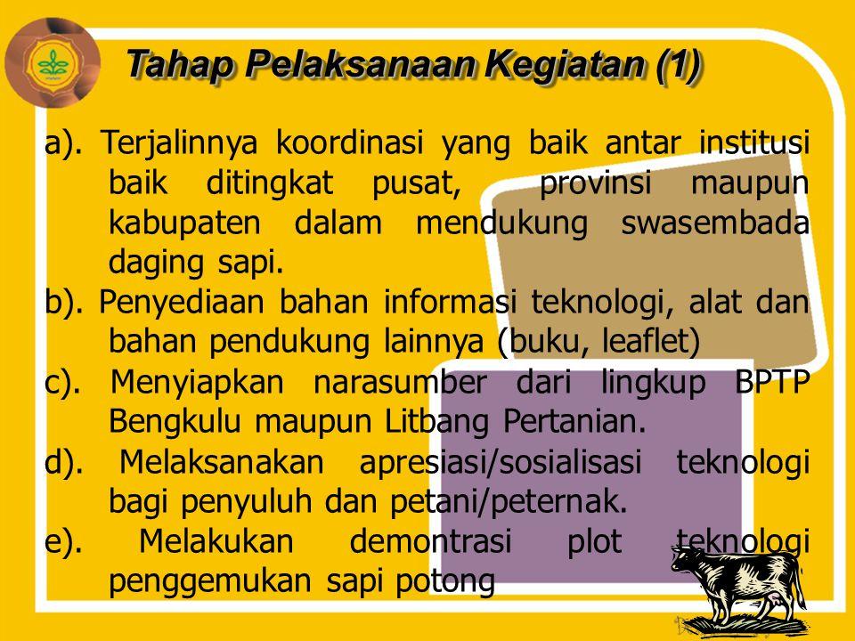 Tahap Pelaksanaan Kegiatan (1) a). Terjalinnya koordinasi yang baik antar institusi baik ditingkat pusat, provinsi maupun kabupaten dalam mendukung sw